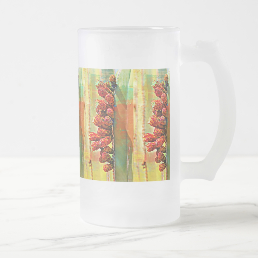 Painted Stove Pipe Cactus Frosted Mug - Stylish, Designer Drinkware With Unlimited Creativity