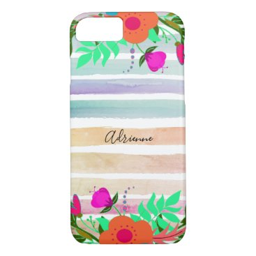 Painted Stripes And Floral Edges Custom Name iPhone 8/7 Case