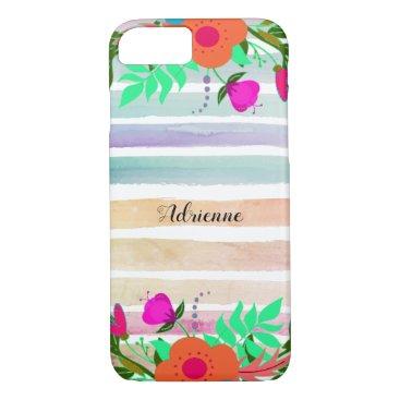Painted Stripes Floral Edges Custom Name Script iPhone 8/7 Case