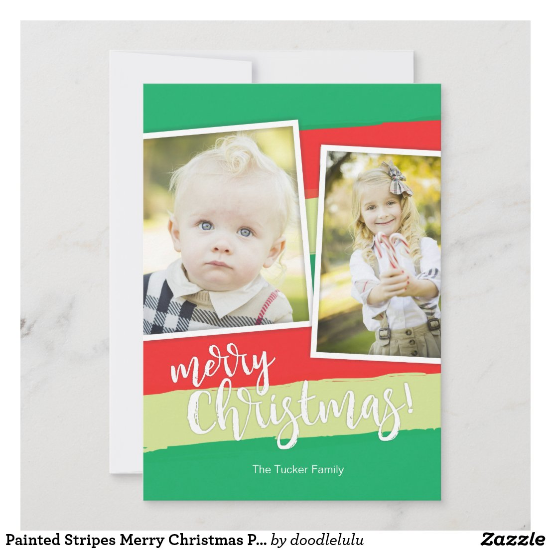 Painted Stripes Merry Christmas Photo Card