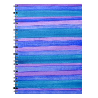 Painted Stripes: Teal, Blue, Violet Spiral Notebook