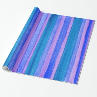 Painted Stripes: Turquoise, Blue, Violet Wrapping Paper
