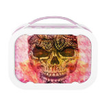 Painted sugar skull on pink houndstooth lunch boxes
