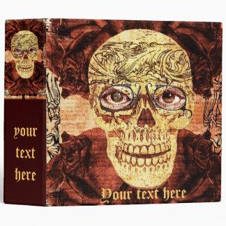 painted sugar skull - steampunk 3 ring binders