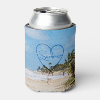 "Painted ""Summer"" Heart Typography Beach Scene Can Cooler"