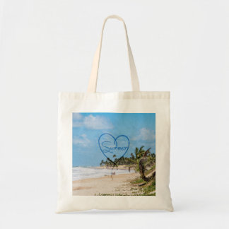 """Painted """"Summer"""" Heart Typography Beach Scene Tote Bag"""