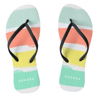 Painted Summer Stripes Sunwashed Neon Flip Flops