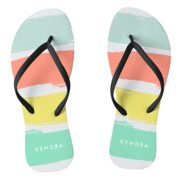 Beach Themed Painted Summer Stripes Sunwashed Neon Flip Flops