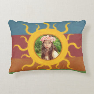 Painted Sun Photo Template Accent Pillow