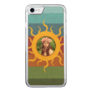 Painted Sun Photo Template Carved iPhone 7 Case
