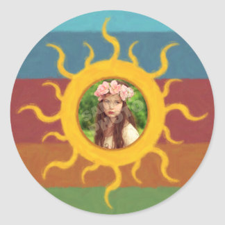 Painted Sun Photo Template Classic Round Sticker