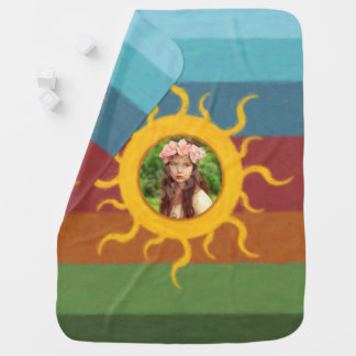 Painted Sun Photo Template Receiving Blanket