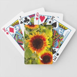 Painted Sunflower. Bicycle Playing Cards