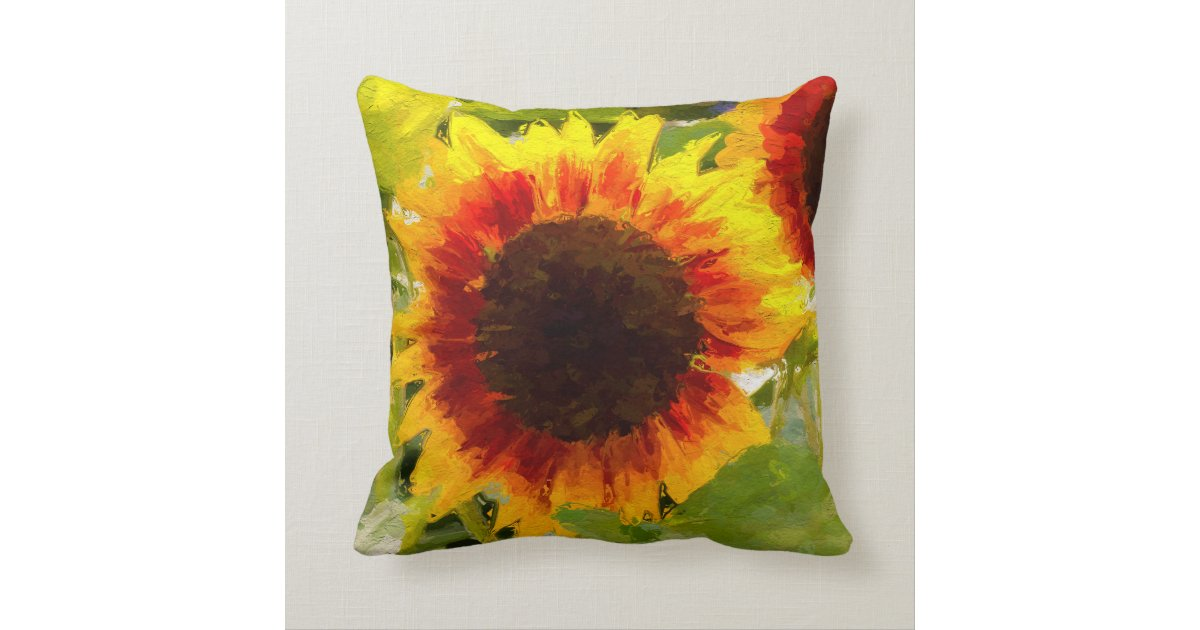 Painted Sunflower Design Throw Pillow Zazzle.com