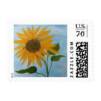 Painted Sunflower Postage Stamp