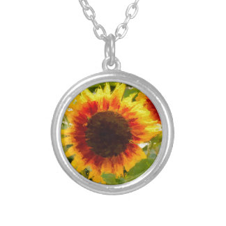 Painted Sunflower. Round Pendant Necklace
