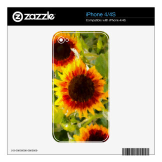 Painted Sunflower. Skin For iPhone 4