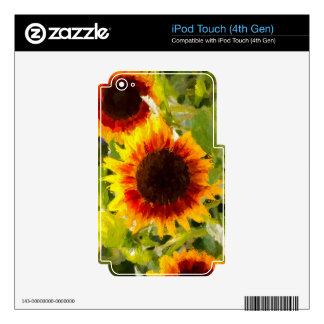 Painted Sunflower. Skins For iPod Touch 4G