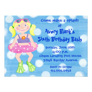 Painted Swim Party- Blonde Girl Invitation