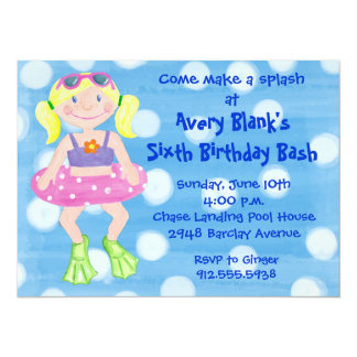 Painted Swim Party- Blonde Girl 5.5x7.5 Paper Invitation Card