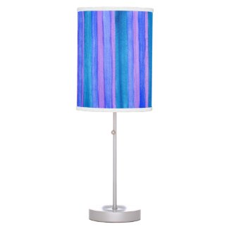 Painted Teal, Blue, Purple Stripes Table Lamp