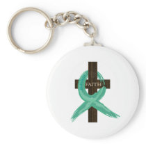 Painted Teal Cancer Survivor  Ribbon Keychain