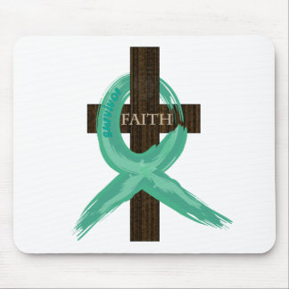 Painted Teal Cancer Survivor  Ribbon Mouse Pad