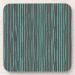 Painted Teal Stripes on Dark Brown Drink Coaster