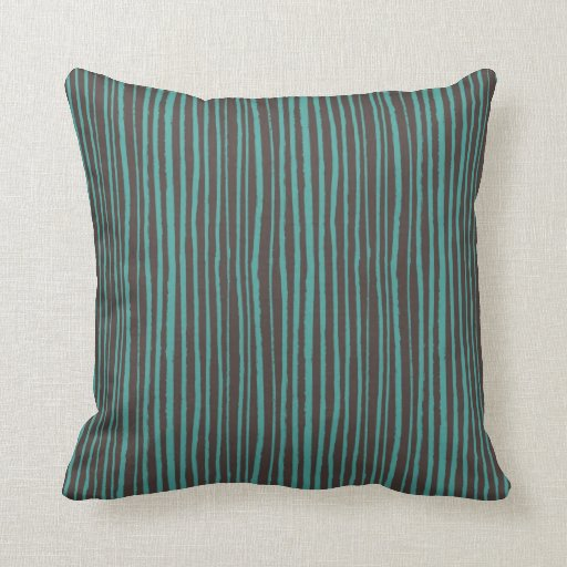 Painted teal stripes on dark brown throw pillow zazzle - Brown sofa with blue pillows ...