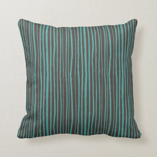 Dark Brown Throw Pillows.Painted Teal Stripes On Dark Brown Throw Pillow