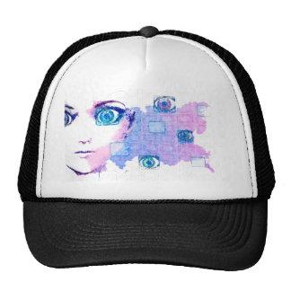 Painted techno human trucker hat