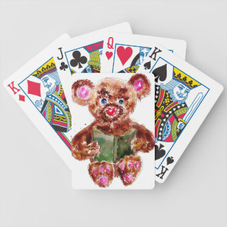 Painted Teddy Bear Bicycle Playing Cards