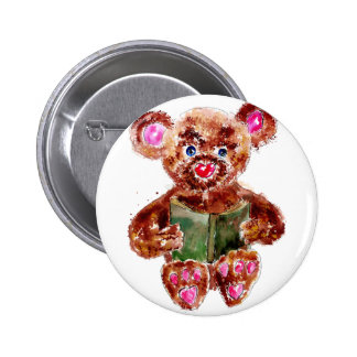 Painted Teddy Bear Button