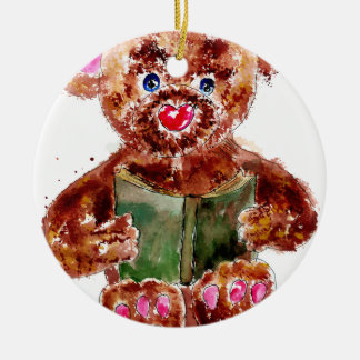 Painted Teddy Bear Ceramic Ornament