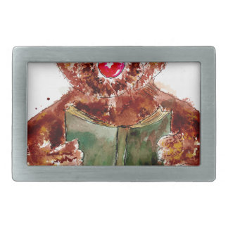 Painted Teddy Bear Rectangular Belt Buckle