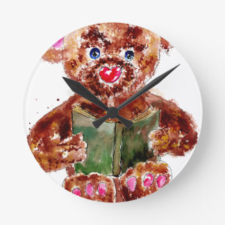 Painted Teddy Bear Round Clock