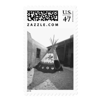 Painted tepee on courtyard, (B&W) Postage