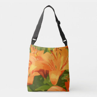 Painted Tiger Lily Crossbody Bag