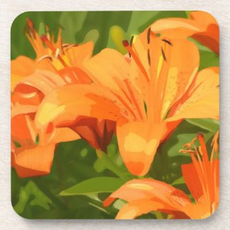 Painted Tiger Lily Garden Beverage Coaster