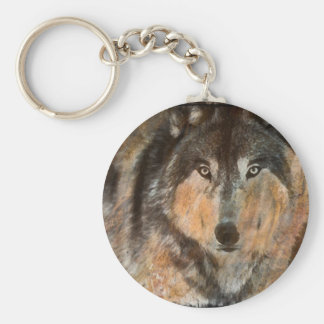 Painted Timber Wolf Keychain