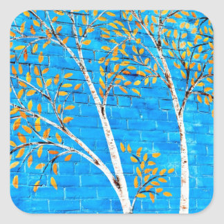 painted trees square sticker