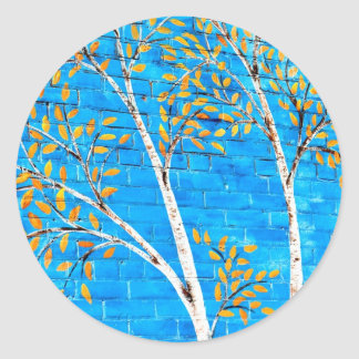 painted trees classic round sticker