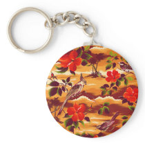 Painted Tropical Floral Songbird Natural Keychain