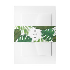 Painted Tropical Leaves Beach Wedding Invitation Belly Band