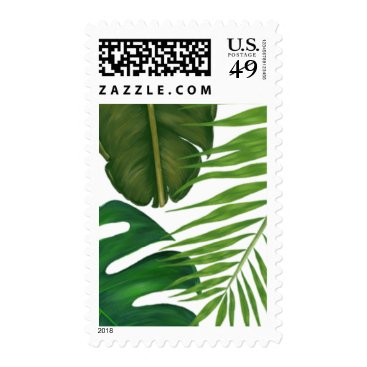Painted Tropical Leaves Beach Wedding Postage