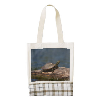 Painted turtle on a log zazzle HEART tote bag
