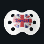 """Painted UK Union Jack Pacifier<br><div class=""""desc"""">A design with a pretty glossy effect painted  Union Jack buy as it is or customize with baby&#39;s name as you if you want to as you require... </div>"""