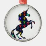 Painted UNICORN horse fairytale navinJOSHI NVN100 Round Metal Christmas Ornament