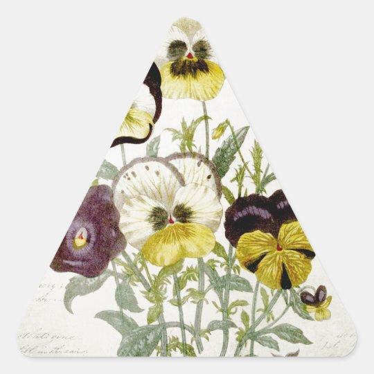 Painted Vintage Flower Bouquet Script 4 Triangle Sticker