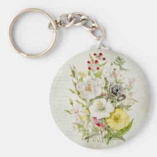Painted Vintage Flower Bouquet Script 5 Basic Round Button Keychain